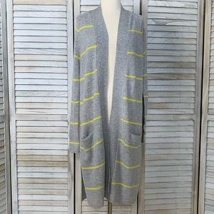 Pencil Stripe Open Cardigan by Autumn Cashmere